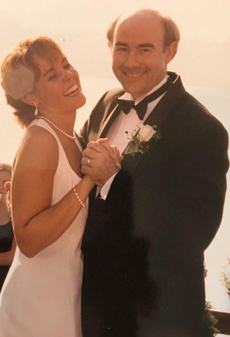 Allison & Rich at her wedding
